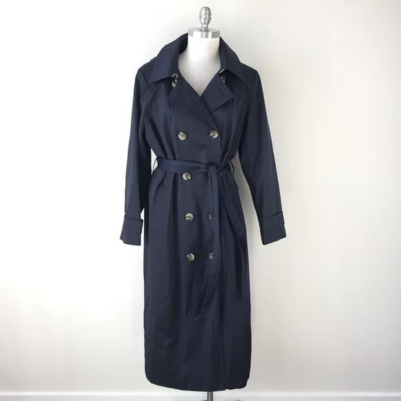 Anne Klein Jackets & Blazers - Anne Klein XL Navy Blue Trench Coat Hood Excellent
